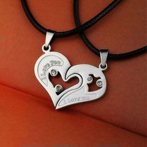 Jewelry - Engraved Double Heart Pendant Romance Necklace 2pc